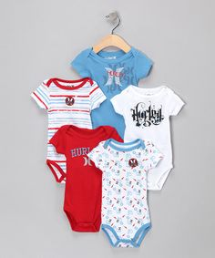 Take a look at this Red & Blue 'Hurley' Bodysuit Set by Hurley on #zulily today!