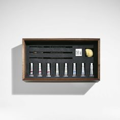 The Winsor & Newton Watercolour Set is created in walnut with bleached figured anegre sliding lids. Inspired by items from the Winsor & Newton archives.