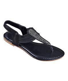 Loving this STEVEN ELLA INC Black Rhinestone-Embellished Stretch Sandal - Women on #zulily! #zulilyfinds