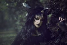 Vespermoth with Manic Moth by Laguz Photography. Check out www.patreon.com/Machinefairy.   #2016 #alternative #altfashion #atmosphere #black hair #black lips #costume #dark #enchanted #extreme make up #fable #fairy #fairytale #fantasy #female #forest #gothgirl #gothgoth #gothic #horns #lenses #Manic Moth #model #morticia #natural light #skull #story #wig #witch