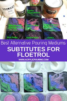 Best Alternative Pouring Mediums: Subtitutes for Floetrol Acrylic Painting Tips Pour Painting Techniques, Acrylic Pouring Techniques, Acrylic Pouring Art, Painting Lessons, Painting Classes, Acrylic Painting Tips, Flow Painting, Acrylic Art, Diy Painting