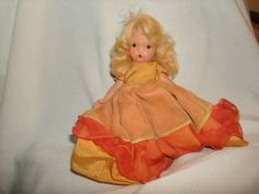 "NANCY ANN STORYBOOK Doll 2 Tone Pink Organdy & Taffeta Gown ~ 5-1/2"" Bisque Doll by PastPossessionsOnly on Etsy"