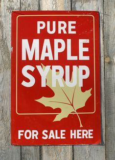 Antique Vermont Maple Sign. Hung outside the sugar house letting you know they have syrup for sale, because you need Maple Syrup in your Recipe. Part of My Collection, Sorry Not For Sale. Eye Candy for All of You Interested & Collectors to enjoy. You can see more Here on Etsy, or We do sell items shown here and are always adding new items for sale in our shop on Etsy. Take a peek. Comments welcome.