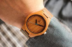 Boyd Blue | This wooden Tree Hut watch has genuine brown leather bands and is handmade in San Francisco from real wood with a blue minute hand.