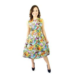 4e81ecf192b Pop Art Pleated Dress Cowgirl Dresses