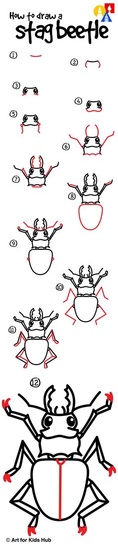 ideas painting art for kids draw for 2019 Cartoon Drawings, Easy Drawings, Animal Drawings, Draw Animals For Kids, Beetle Drawing, Art For Kids Hub, Bug Art, Insect Art, Drawing Lessons