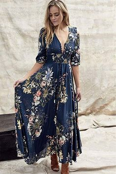 FloryDay / Vestidos Informal Floral Longo de Meia manga – anima world Floral Chiffon Dress, Boho Dress, Chiffon Dresses, Bohemian Dresses, Summer Floral Dress, Print Maxi Dresses, Draped Dress, Floryday Vestidos, Mode Hippie