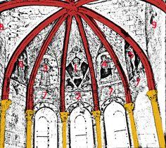 5) LA CHAPELLE DE LA TRINITE: Sur l'image ci-contre, le décodage symbolique des représentations selon Rosalie Godin (restauratrice des M.H, dans Peintures murales médiévales de St-Emilion). 1: Christ en majesté entouré des symboles des 4 évangélistes- 2: monstre hybride coiffé de la mitre -3: St-Jean-Baptiste -4: Vierge- 5: Crucifixion -6: un ange présente un élu à un saint - 7: monstres hybrides -8: le Christ sur les épaules de St-Christophe (effacé) -9: un saint en robe de bure (effacé).
