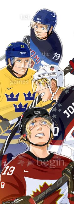 Tino, Berwald, Alfred, and Matthew: representing the final four men's hockey teams in the 2014 Sochi Winter Olympics - Art by ctcsherry.tumblr.com