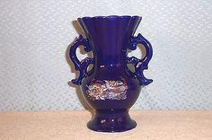 """6.5"""" Cobalt Blue Porcelain Japanese Handled Vase Mint Peacock Blue, Porcelain Ceramics, Wedgwood, Cobalt Blue, Mint, Handle, Vase, Japanese, Japanese Language"""