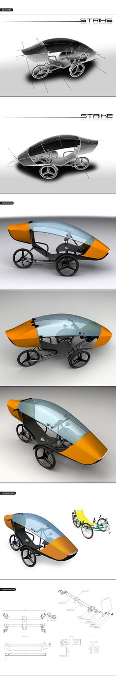 sTrike is a recumbent trike based on the existing GreenSpeed trike. The aim of the project is to transform a leisure vehicle like the original Greenspeed in a sort of commuter's vehicle: for this reason, an almost complete weather protection has be& Scooters, Trike Scooter, Powered Bicycle, Electric Tricycle, Recumbent Bicycle, Microcar, Reverse Trike, Kids Ride On, Bike Style
