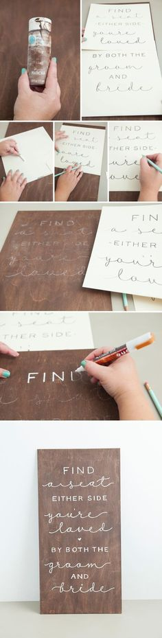 Wedding Gifts Diy How to transfer a printed design onto a sign to easily trace! - In this detailed tutorial, we break down the 5 best (and easiest) ways that you can make your own gorgeous wedding signs, no matter what type! Wedding 2017, Fall Wedding, Rustic Wedding, Wedding Planner, Dream Wedding, Diy Wedding Wood Signs, Wedding Tips, Diy Wedding Crafts, Chalkboard Wedding Signs