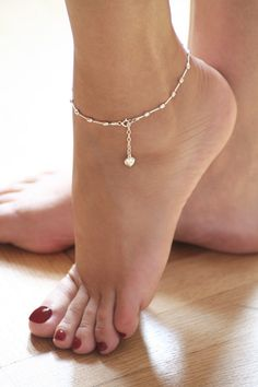 Sterling silver, ankle bracelet, feminine and delicate,