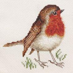 ROBIN-REDBREAST-Christmas-Bird-Full-counted-cross-stitch-kit-materials