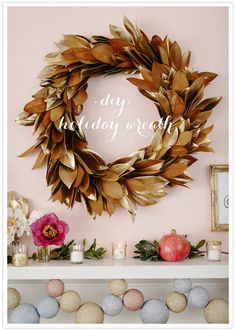 DIY holiday wreath by Brown Paper Design for 100 Layer Cake.