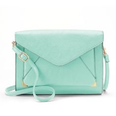Apt. 9® Anna Crossbody Clutch ($18) ❤ liked on Polyvore featuring bags, handbags, clutches, purses, accessories, mint, green cross body purse, vegan handbags, green crossbody and green handbag