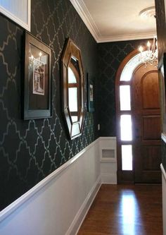 Stunning entryway  - stenciled black walls, white woodwork/molding -- WOW --- stencil by Royal design stencils on Etsy ~~~