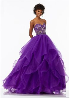 Tulle and Organza Prom Gown with Embroidered Sweetheart Ball Gowns 06a114893