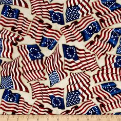 Home Of The Brave American Flags Oatmeal from @fabricdotcom  From Dan Morris Design for Quilting Treasures, this Americana cotton print collection has a vintage look and is perfect for quilting, apparel, and home decor accents. Colors include beige, dark red, blue, and white.