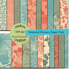 Textured Flowers Digital Paper Pack 300 dpi 12x12 20 papers For Personal or Small Business Use