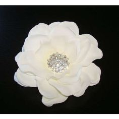 Light Cream / Off White Flower With Rhinestone Centerpiece Hair Clip