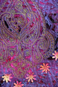 Indian Panel, textile art by Helen Cowans