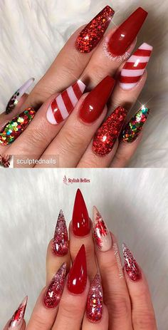 The Cutest and Festive Christmas Nail Designs for Celebration Here are the best Christmas acrylic nails designs, cute Christmas nails and red Christmas nails 2018 that We've Cherry Picked, to act as an inspiration for you! Chistmas Nails, Cute Christmas Nails, Christmas Nail Art Designs, Holiday Nail Art, Xmas Nails, Halloween Nail Designs, Red Nails, Halloween Nails, Red Glitter Nails
