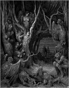 Harpies in the Forest of Suicides Gustave Dore in Illustration & Painting