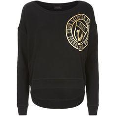 True Religion Logo Crest Sweatshirt ($185) ❤ liked on Polyvore featuring tops, hoodies, sweatshirts, true religion sweatshirt, crew-neck sweatshirts, logo tops, logo sweatshirts and sweatshirts hoodies