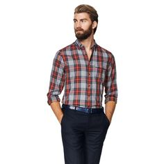 Windham Twill Check Button Down Shirt Dark Grey, Shop Now, Button Down Shirt, Men Casual, Plaid, Formal, Check, Mens Tops, How To Wear