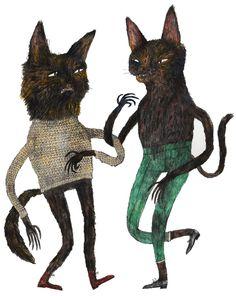 """Cat Jig"" by Benjamin Phillips from London  #cat #cats #catart #kitten #art #illustration #drawing"