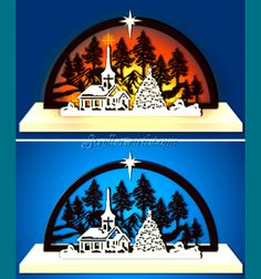 Scroll Saw Patterns :: Lighted projects :: Schwibbogen (arches) :: Forest Christmas scene arch #1 -