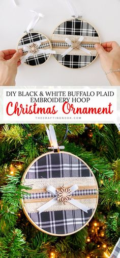 Need an elegant yet easy Christmas Ornament idea to make? This Buffalo Plaid Embroidery Hoop Christmas Ornament is the easiest DIY embroidery hoop craft you can create to add some elegant and yet festive cheer to your tree. Easy Christmas Ornaments, Wood Ornaments, Simple Christmas, Christmas Crafts, Christmas Ideas, Handmade Ornaments, Christmas Inspiration, Christmas Stuff, Christmas Presents