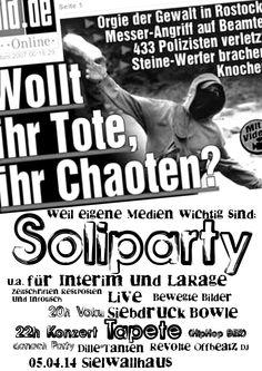 Ahoj! Am Samstag den 05.04. gebe ich ein Konzert in Bremen, im Sielwallhaus (Sielwall 38). Eine Soliparty für alternative Medien. Also wenn ihr in Bremen und Umgebung seid...