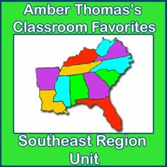 This unit on the Southeast region covers the natural resources, products, landmarks, landforms, and history of the region. It also has visual, kinesthetic, note-taking, writing, poetry, mapping, and dramatic activities. Homework assignments and a final test are included. Currently $9.99 for 67 pages.