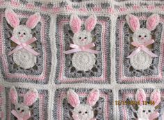 Easter Bunny Afghan Bassinet Cover Pink Grey and Off by Mermaidb50