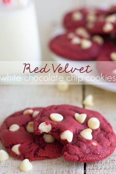 Red Velvet Cookies stuffed with white chocolate chips! These turn out amazingly gooey!