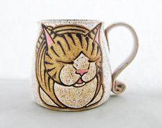 Cat Mug, pottery mug, great Christmas gift, cat loaf mug, cat art , holds approx…