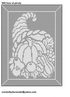 960 Horn of Plenty Thanksgiving Fall Filet Crochet Pattern