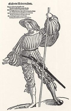 Title: Landsknecht Gall              Tags: Katzbalger, Kuhmaul shoes, Hat, Landsknecht, Pike, Dagger, Stripes              Date: ca. 1535                        Artist: Erhard Schoen              Provenance: Germany              Collection: Grafische Sammlung Albertina