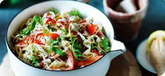 Want a light, quick and easy pasta recipe for dinner? Try this summery linguine with crab, chilli, lemon and rocket. Summer Pasta Recipes, Best Pasta Recipes, Crab Recipes, Vegetarian Recipes, Dinner Recipes, Cooking Recipes, Healthy Recipes, Fusilli Recipes, Noodle Recipes