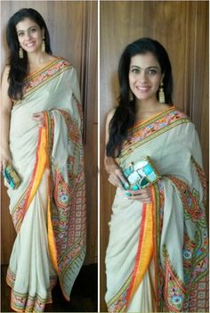 Bollywood Actress Kajol georgette saree in white and yellow colour