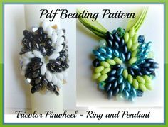 Pattern in English  - Ring and Pendant Tricolor Pinwheel with Superduo e/o Twin Beads - Tutorial Pdf