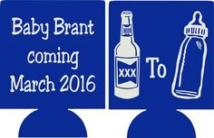 beer bottle Baby Shower favors Can Coolers customizable