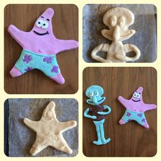 Salt dough - spongebob and squidward.  Trylledej - svampebob og blækvard.