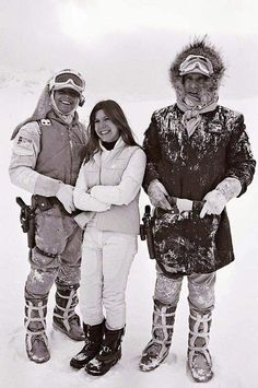 What happens on Hoth stays on Hoth. Mark Hamill as Luke Skywalker, Carrie Fisher as Princess Leia and Harrison Ford as Han Solo from Star Wars The Empire Strikes Back Harrison Ford, Star Wars I, Star Wars Cast, Images Star Wars, Star Wars Pictures, Mark Hamill Carrie Fisher, Amour Star Wars, Han And Leia, The Empire Strikes Back