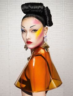 Pop art Geisha with model's,Yumi Lambert, make-up Very high fashion.