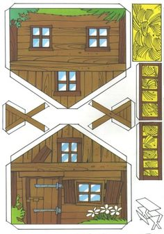Handicraft sheet: Fix and Foxi Nature Park - Kaukapedia Paper Doll House, Doll House Crafts, Paper Houses, Putz Houses, Fairy Houses, Gingerbread House Parties, Paper Art, Paper Crafts, Free Paper Models