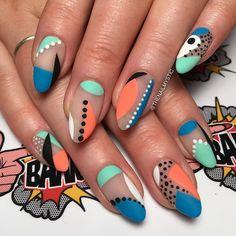 Stylish Nails, Trendy Nails, Nail Design Stiletto, Funky Nails, Funky Nail Art, Colorful Nail Art, Oval Nails, Oval Nail Art, Fire Nails