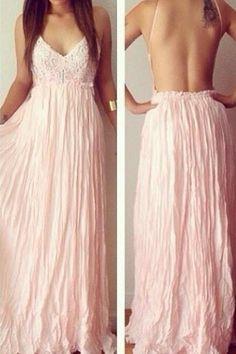Sexy Backless V-Neck Lace Dress
